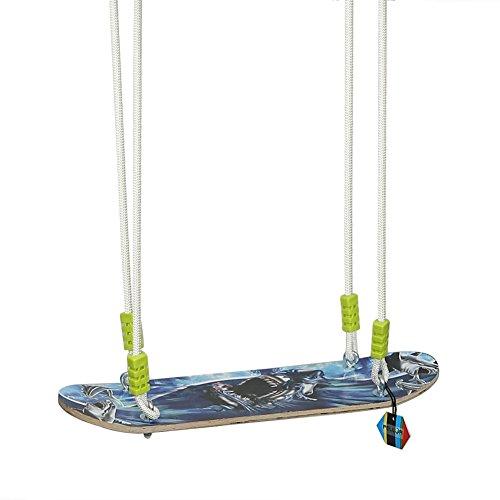 Pellor Kinder Skateboard Schaukel Swing Schaukelsitz Aus Holz Innen- und Außenkinderschaukel Set Verstellbar Seil Bis 80kg (Blau)