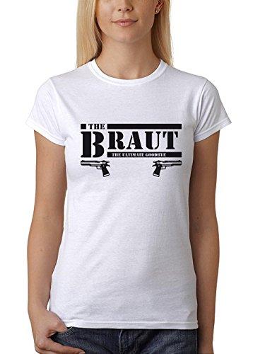 clothinx Damen T-Shirt Fit Junggesellinnenabschied B-Team mit Pistole & Braut Weiß/Schwarz Braut Größe M