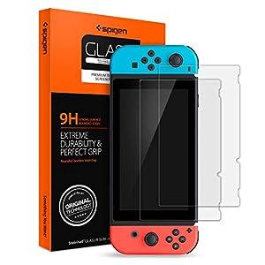 Spigen, Panzerglas Schutzfolie kompatibel mit Nintendo Switch, Hüllenfreundlich, Kristallklar, 9H gehärtes Glas, 0.3 mm, Nintendo Switch Schutzfolie (AGL00305)