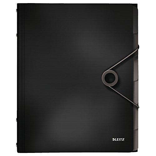 Leitz 45691095 Solid Ordnungsmappe PP A4, 6 Fächer, schwarz