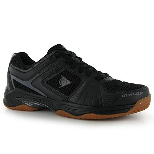Dunlop Herren Indoor Hallenschuhe Squash Sport Schuhe Turnschuhe Schnuerschuhe Schwarz/Dunkelgrau 9.5 (43.5)