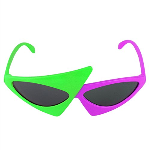 Novelty Duo-tone frames Glasses Neon Green and Purple 2-Color Asymmetric Triangle Glasses
