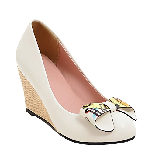 Mee Shoes Damen runde Schleife Keilabsatz Pumps Weiß
