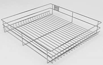 Hettich CargoTech M   SS Wire Basket for Modular Kitchen   Plain Multipurpose Basket - Without Partition   Depth 20 inch ~ 500MM   Width - 536mm (21Inch) x Height - 100mm (4 inch)   Finish: Zinc