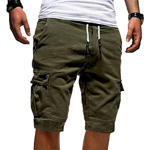 Onsoyours Herren Cargo Hose Shorts Sommer Freizeit Bermuda Kurze Hose Chino Training Jogging Hose Mit Kordel Regular Fit Grün Medium