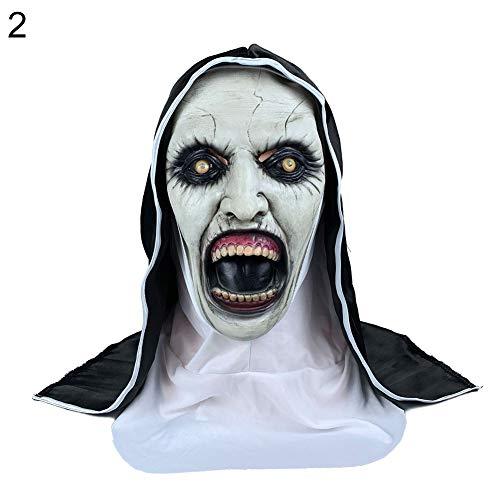 Streiche Scary Kostüm - GBAIRIY Halloween Scary Spooky Latex Maske Frauen Ghost Nonne Mund Maske Kostüm Party Streich Prop