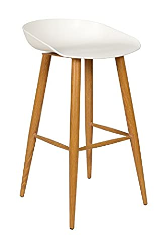 ts-ideen Design Bar Bistro Stool Chair Seat Metal Wood White Dining Lounge Modern