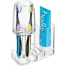 MetroDecor mDesign Portacepillos con Vaso para baño – Excelente Vaso para Cepillo de Dientes y Enjuague