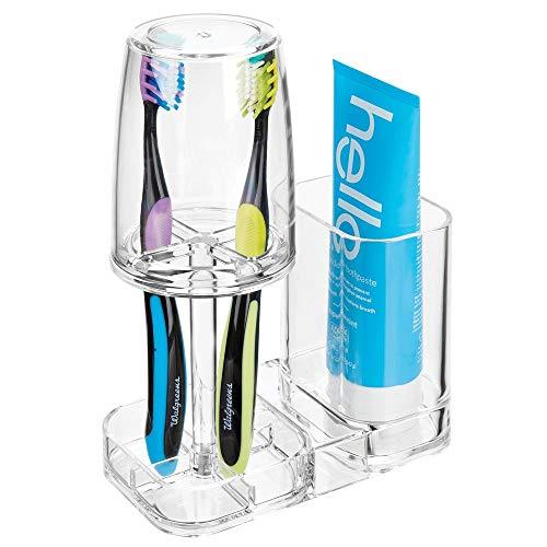 mDesign Zahnbürstenhalter mit Becher - hochwertiger Zahnputzbecher mit Deckel fürs Bad - Halterung für Zahnbürsten und Zahnpasta aus Kunststoff - durchsichtig