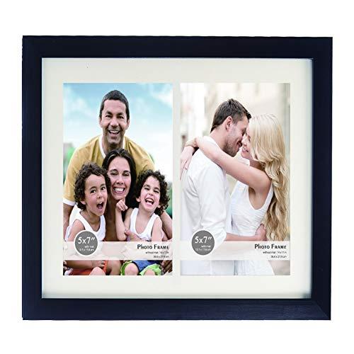 11 x 14 Collage Picture Frame - zeigt zwei 5 x 7 Zoll Portrait-Bilder - White Mat - mehrere Bilderrahmen aus Plexiglas für Hang Wall Art -