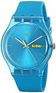 Swatch Damen-Armbanduhr Turquoise Rebel Analog Quarz Plastik SUOL700