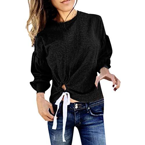 Abzeichen Womens Dunklen T-shirt (TAMALLU Damen T-Shirts Modische Einfarbig Abzeichen Pullover Rundkragen(Schwarz,S))