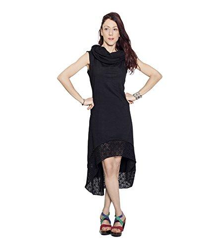 614e292f5 Anoushka Damen Kleid Capucha Maxi Vestido Schwarz Negro