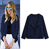 Mose Women's Suit Jacket, Hot Office Casual Slim Suit Business Blazer Jacket Coat Outwear Solid Daily Tops Large Blue