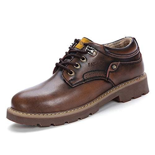 Hilotu Herren Abendschuhe Retro Runde Zehe Schnürschuh Leder Winter Oxford Lässige bequeme moderne Business-Schuhe für Männer (Color : Braun, Größe : 44 EU)
