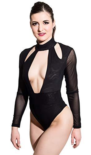 HO-Ersoka Damen Body Stehkragen tiefer Ausschnitt Langarm schwarz M