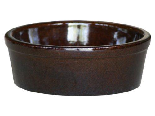 hundeinfo24.de K&K Hunde Futterschale V = 3,8 Liter braun 28×11 cm aus schwerer Steinzeug-Keramik