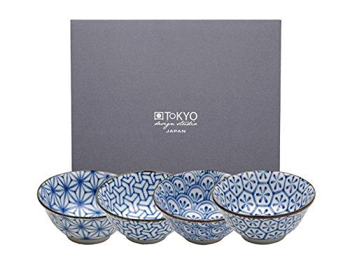 Tokyo Design Studio, Bol en porcelaine motif Kristal - Coffret de 4, Diamètre: 15.2cm