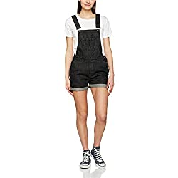 Urban Classic Women's Ladies Short Dungaree (Black Washed 709), M