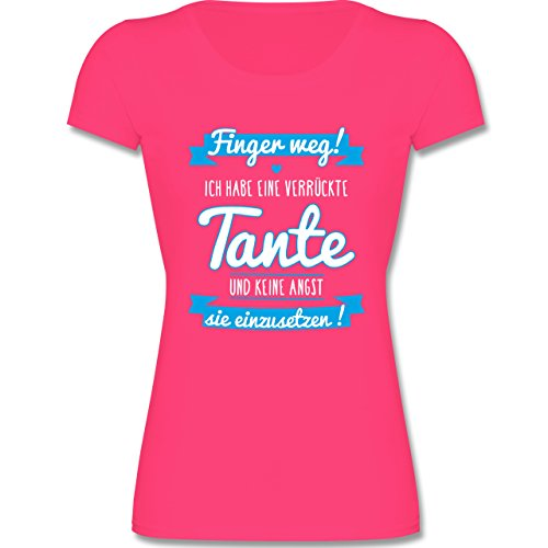 Sprüche Kind - Ich Habe eine Verrückte Tante Blau - 104 (3-4 Jahre) - Fuchsia - F288K - Mädchen T-Shirt (Wrap Kurzarm-t-shirt)