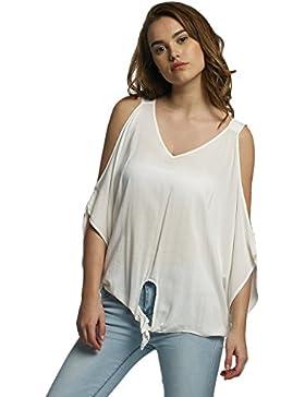 Nuevas señoras azul marino asimétrico volantes falda Top Club wear Tops Casual Wear ropa tamaño s UK 8–10EU...