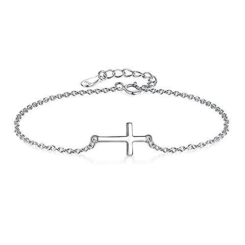 Cara Z - Pulsera de plata de ley con colgante de cruz de plata, joyería fina para mujer
