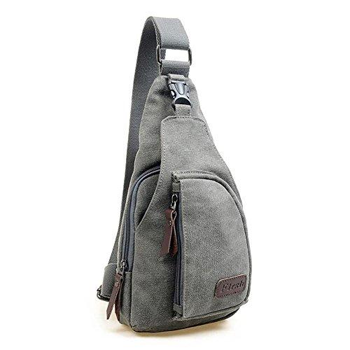 Xiaokesong® Herren Canvas Leinwand Militär Schultertasche Reisen Wandern Bodybag Handtasche Rucksack für Freizeit Outdoor Sports (Grau) Grau