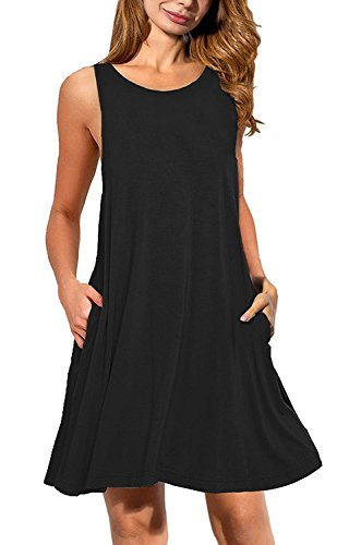 Liqy Women's Summer Loose Fitted Dresses Sleeveless Pockets Casual Plain Swing V-Neck Shirts Size 8-22