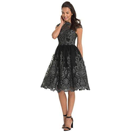 Vestidos Elegantes Mujer De Madrina Boda LHWY, Vestidos De Bordado Hasta La Rodilla Vestidos Vintage De Noche (Gris oscuro, M)