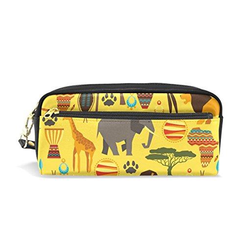 Ahomy Estuches para lápices para niñas y niños, bolígrafo de elefante africano bolsa de papelería bolsa de maquillaje monedero de gran capacidad impermeable para las mujeres