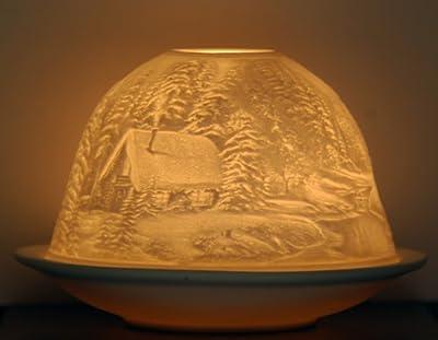 Winterwald Blockhütte Winter Teelichthalter Windlicht Porzellan von Hellmann / SANTOFIT - Lampenhans.de