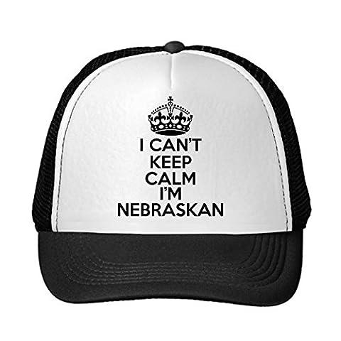 Huseki I Can't Keep Calm, I'm NEBRASKAN Nebraska Adjustable Trucker Hat Cap Black
