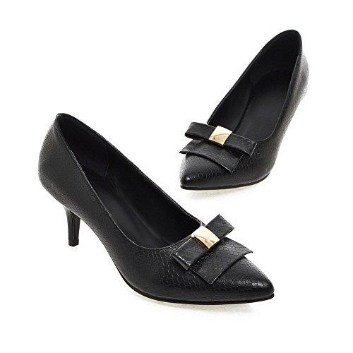 AgooLar Femme Tire Pu Cuir Pointu à Talon Correct Mosaïque Chaussures Légeres Noir