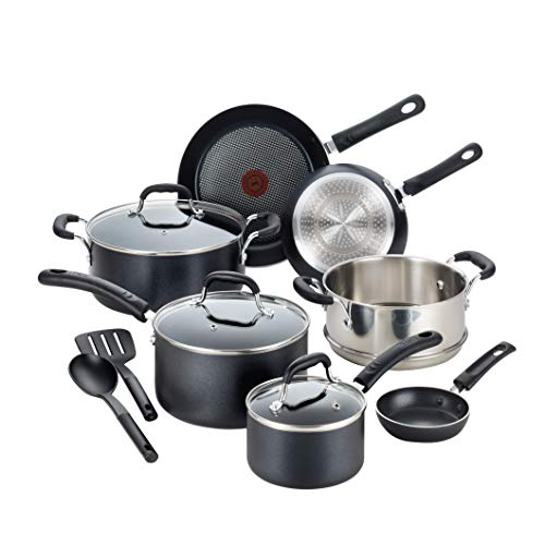 T-fal C515SC Professional Total Nonstick Thermo-Spot Heat Indicator Induction Base Cookware Set, 12-Piece, Black by T-fal - T-fal 12
