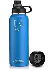 SWIG SAVVY Bottiglia d'acqua isolati in acciaio inox, privo di BPA, a perfetta tenuta, Boca Ancha, con cover intercambiabili 40 Once Blu