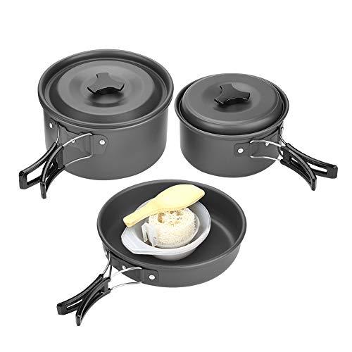 Dilwe Camping Kochset, Aluminiumlegierung Kochgeschirr Mess Kit mit Kochschüssel Pot Pan für Camping Picknick -