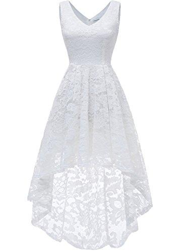 MuaDress 6666 Damen Ärmellose Hi-Lo Lace Formel Brautjungfernkleid Cocktail Party Kleid mit V-Ausschnitt Weiß S