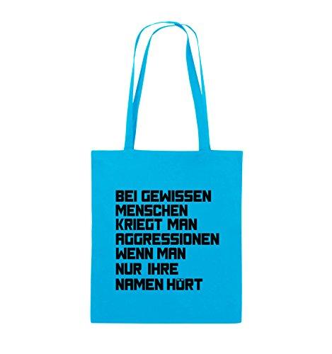 Comedy Bags - Bei gewissen Menschen kriegt man Aggressionen. - Jutebeutel - lange Henkel - 38x42cm - Farbe: Schwarz / Silber Hellblau / Schwarz
