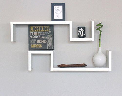 2 Étagères Design en Bois Murale Chambre Mur Striée Blanc ESSE BI