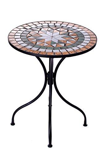 Sarah B Hochwertig aufwendig gearbeiteter Mosaik Tisch NA914B17 Stabiler GartenTisch Balkontisch, Bistrotisch Schweres Beschichtetes Metall, Wetterfest, Tisch
