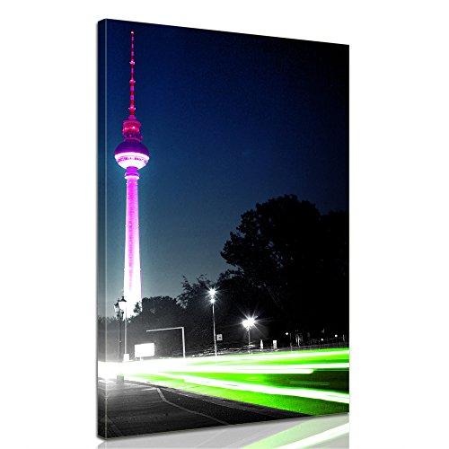 Keilrahmenbild - Blick auf den Berliner Fernsehturm - Bild auf Leinwand - 60x100 cm - Leinwandbilder - Städte & Kulturen - Deutschland - Berlin - Wahrzeichen - Osten