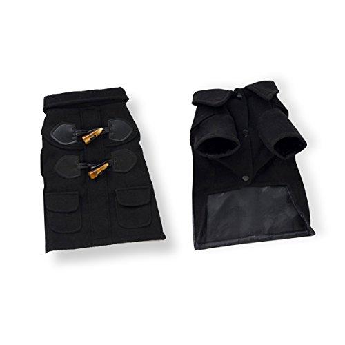 Kostüme Britische Lustige (PETCUTE Hund Warm Mantel Kapuzenpullover Outwear Jacke Kleider Bekleidung Windbreaker Mit Hornschnallen für Haustier Weihnachtsgeschenk)