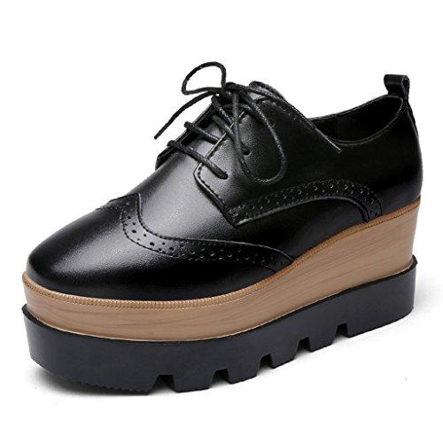 HWF Chaussures femme Chaussures de plate-forme de fond épais printemps femmes chaussures de style britannique occasionnels simples femmes chaussures ( Couleur : Beige , taille : 39 ) Noir