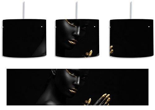 Schwarzer Kaviar Leder (Dark Frau mit goldenen Fingerspitzen und Lippen inkl. Lampenfassung E27, Lampe mit Motivdruck, tolle Deckenlampe, Hängelampe, Pendelleuchte - Durchmesser 30cm - Dekoration mit Licht ideal für Wohnzimmer, Kinderzimmer, Schlafzimmer)
