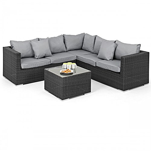 San Diego Dallas Baby Rattan Garden Furniture Grey Porto Corner Set Garden Rattan Furniture