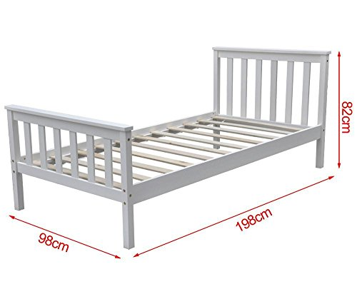 Popamazing 3ft Wood Single Bed Frame in White Single Bed Wooden Frame Bed White