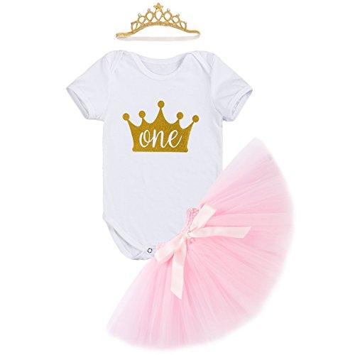 c7316d3dd Newborn Baby Infant Toddler Girls It's My 1st Birthday Cake Smash Shiny  Printed Sequin Dress Princess Romper Tutu Skirt with Crown Headband  Accessories 3pcs ...