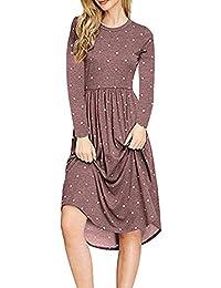 Vestiti Donna Elegante Lunga Vintage Moda Stampate Chic Giovane Abiti  Estivi High Waist V-Neck Manica Lunga Sciolto… 16fd3f766e5