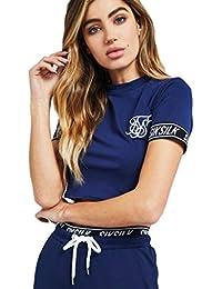 Siksilk Fitted Elastic SLLEVE Crop Camiseta Mujer