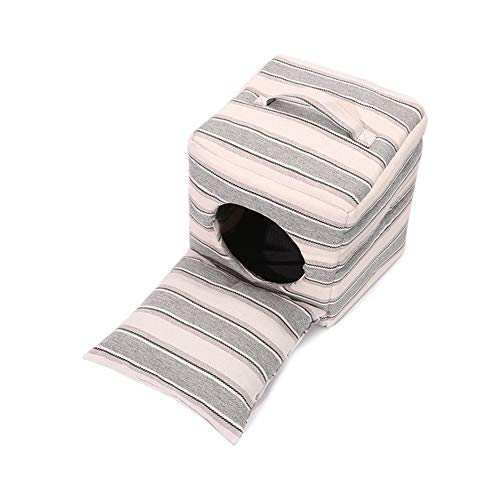 Henlooo cuccia quadrata, adatta per cuccioli e gattini, nidi pieghevoli, stampe a strisce (14,5